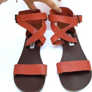 Steve Madden Leather Sandals Bethany flats buckle